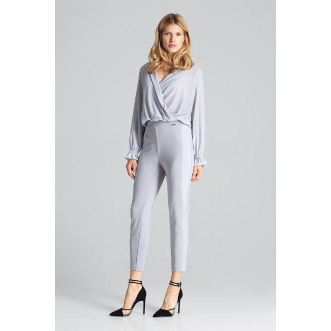 Dámske elegantné nohavice s brokátovými pásmi v sivej farbe