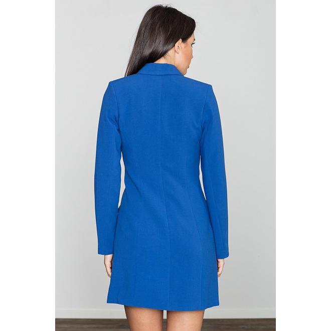Modré módne šaty v štýle saka pre dámy