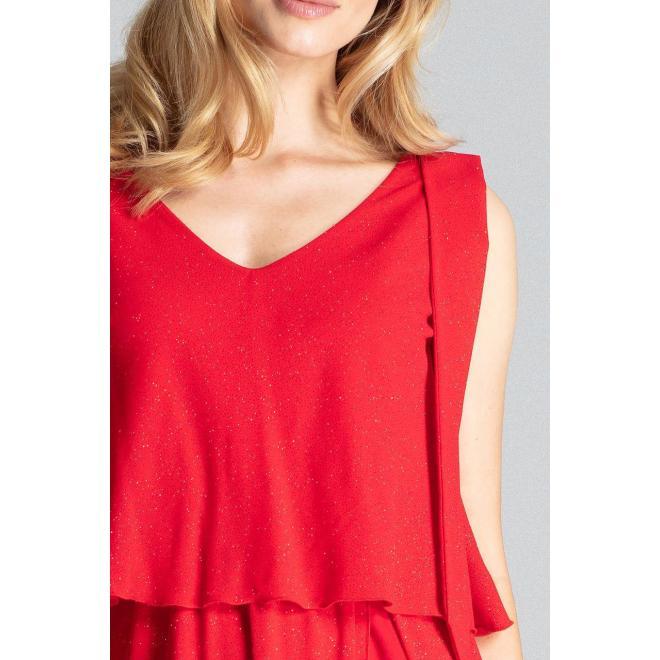 Červené trblietavé šaty s viazaním na ramenách pre dámy