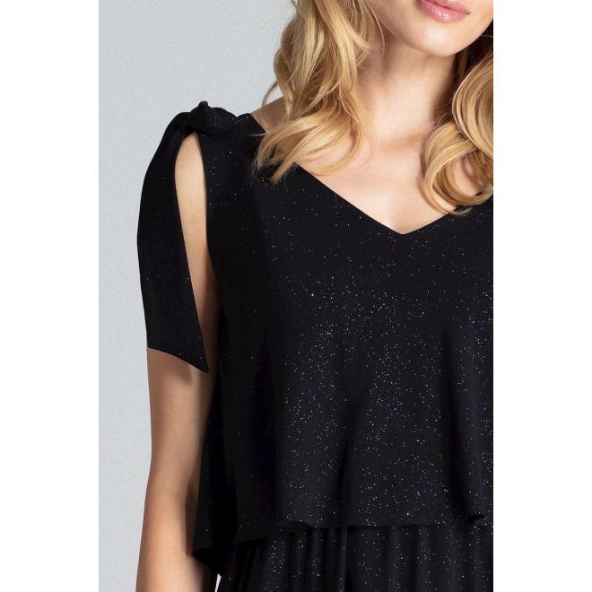 Trblietavé dámske šaty čiernej farby s viazaním na ramenách