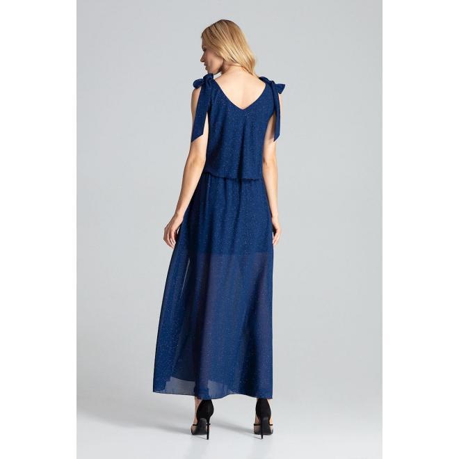 Dámske trblietavé šaty s viazaním na ramenách v tmavomodrej farbe