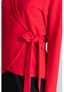 Voľná dámska blúzka červenej farby s viazaním v páse