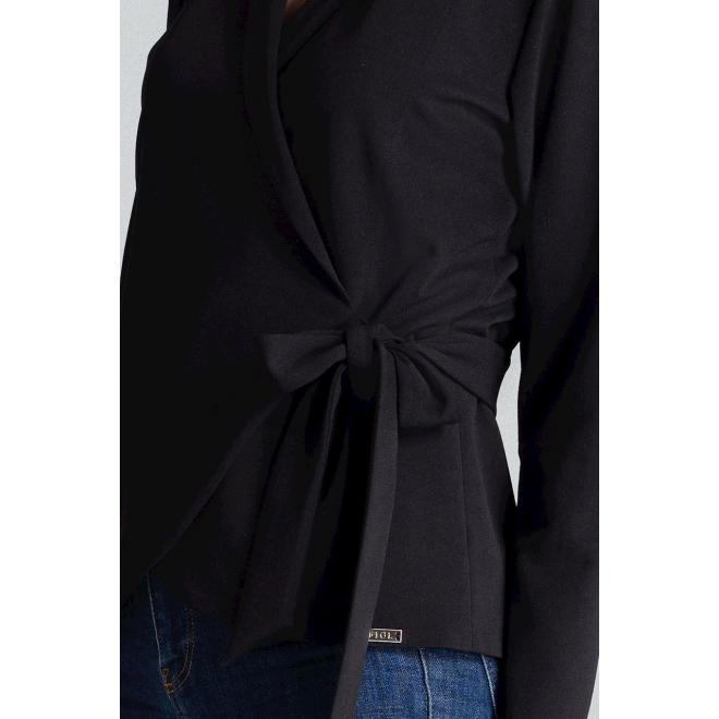 Čierna voľná blúzka s viazaním v páse pre dámy