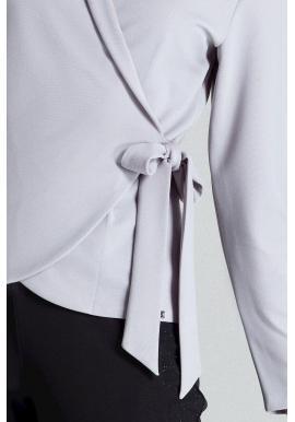 Voľná dámska blúzka sivej farby s viazaním v páse