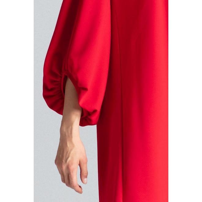 Lichobežníkové dámske šaty červenej farby s nafúknutými rukávmi