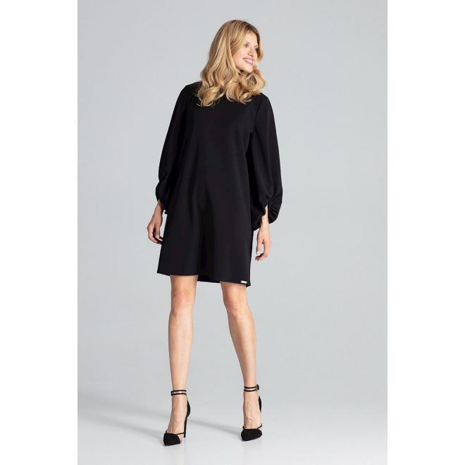Dámske lichobežníkové šaty s nafúknutými rukávmi v čiernej farbe