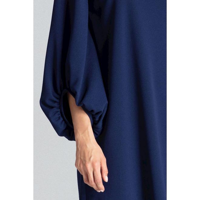 Tmavomodré lichobežníkové šaty s nafúknutými rukávmi pre dámy