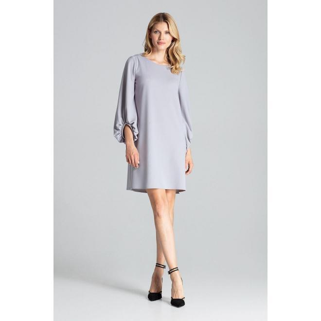 Lichobežníkové dámske šaty sivej farby s nafúknutými rukávmi
