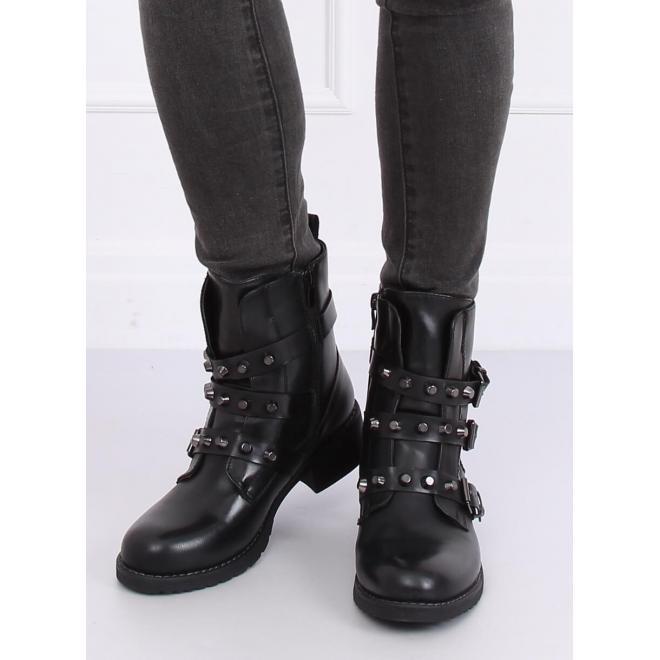 Vojenské dámske topánky čiernej farby s vybíjaním