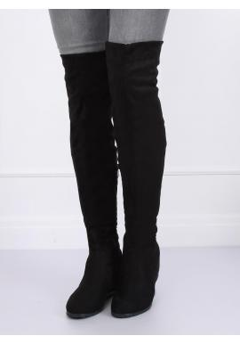 Čierne semišové čižmy nad kolená na platforme pre dámy