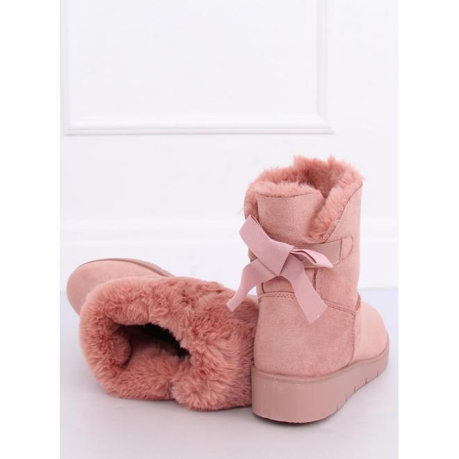 Ružové semišové snehule s ozdobnou mašľou pre dámy
