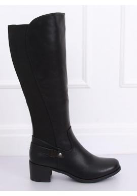 Módne dámske čižmy čiernej farby na nízkom podpätku
