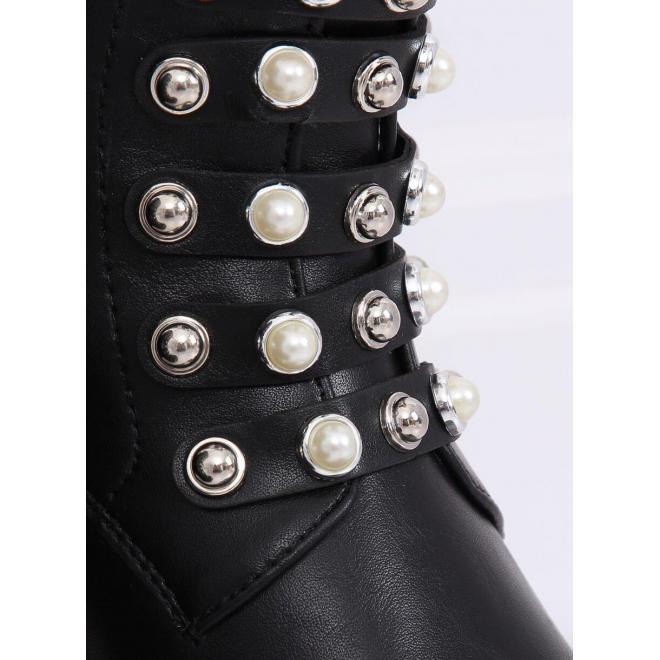 Čierne štýlové Workery s vybíjaním a perlami pre dámy