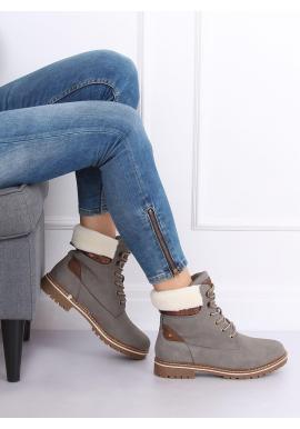 Sivé módne Timberky s kožušinou pre dámy
