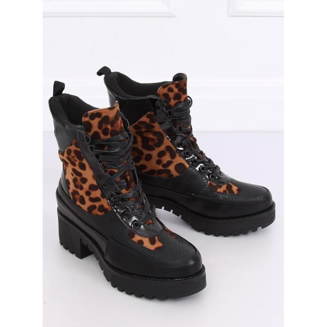 Dámske štýlové topánky s leopardím vzorom v čiernej farbe