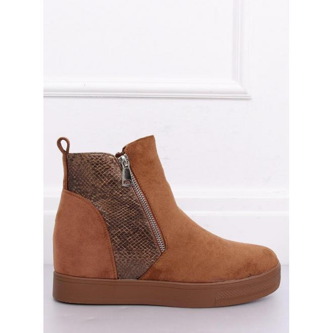 Dámske štýlové topánky na skrytom opätku v hnedej farbe