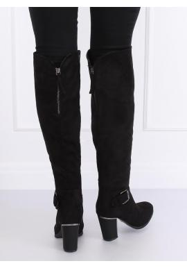 Semišové dámske čižmy nad kolená čiernej farby na podpätku