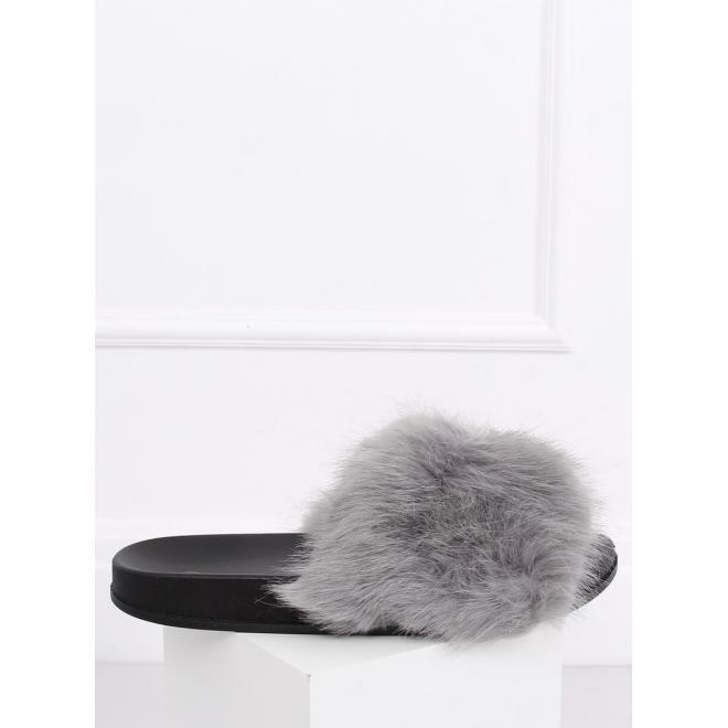 Sivé módne šľapky s kožušinou pre dámy