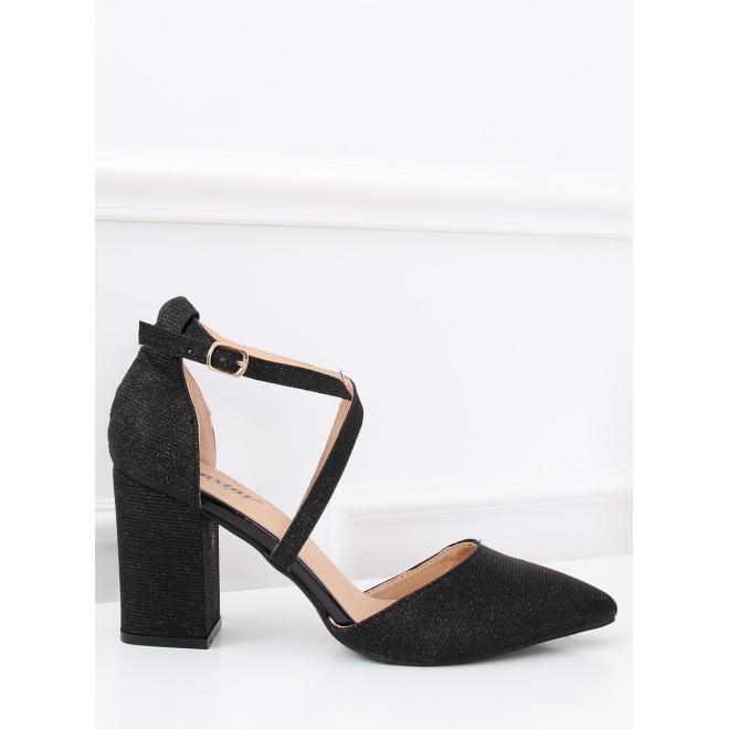 Čierne trblietavé sandále na stabilnom opätku pre dámy