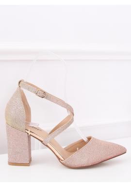 Dámske trblietavé sandále na stabilnom opätku v ružovej farbe