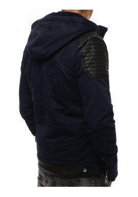 Tmavomodrá zimná bunda s vložkami z ekokože pre pánov