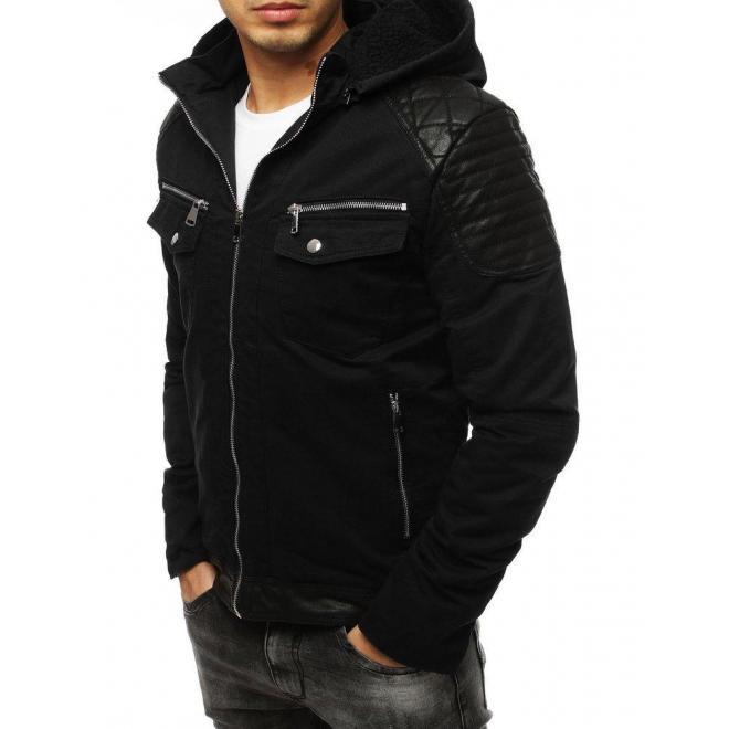 Pánska zimná bunda s vložkami z ekokože v čiernej farbe