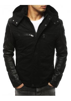 Zimná pánska bunda čiernej farby s koženými rukávmi