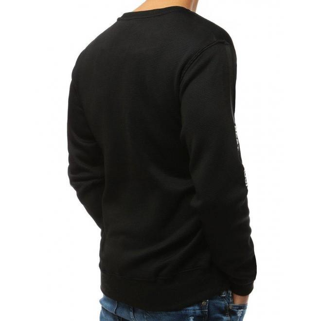 Štýlová pánska mikina čiernej farby s potlačou