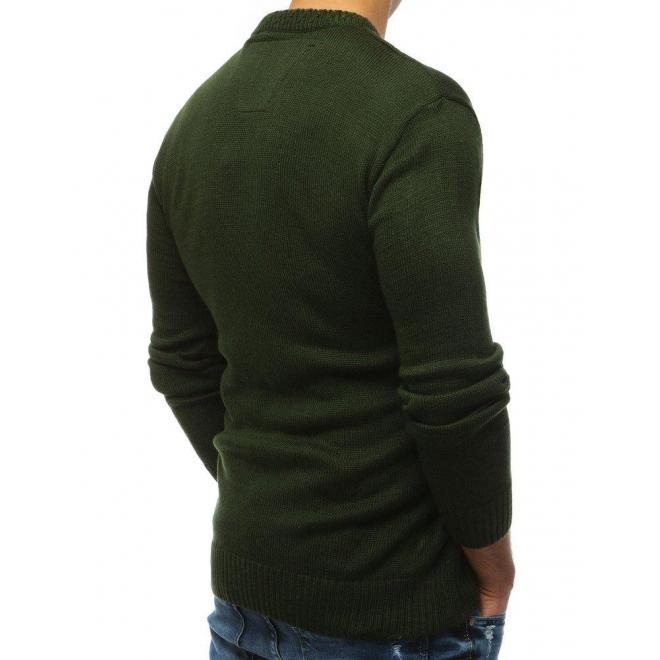 Kaki módny sveter s okrúhlym výstrihom pre pánov