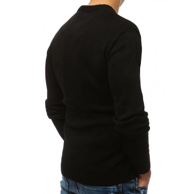 Pánsky módny sveter s okrúhlym výstrihom v čiernej farbe