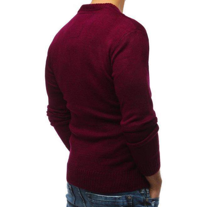 Módny pánsky sveter bordovej farby s okrúhlym výstrihom