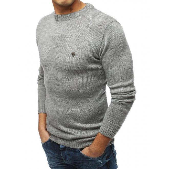 Svetlosivý módny sveter s okrúhlym výstrihom pre pánov