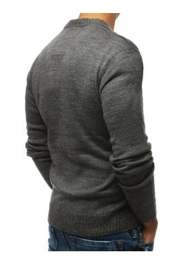 Pánsky módny sveter s okrúhlym výstrihom v tmavosivej farbe