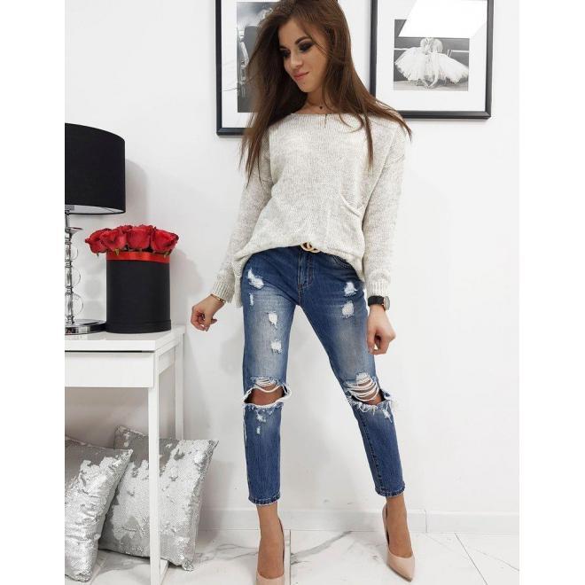 Svetlobéžový módny sveter s vreckom vpredu pre dámy
