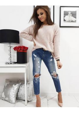 Módny dámsky sveter ružovej farby s vreckom vpredu