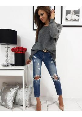 Dámsky módny sveter s vreckom vpredu v tmavosivej farbe