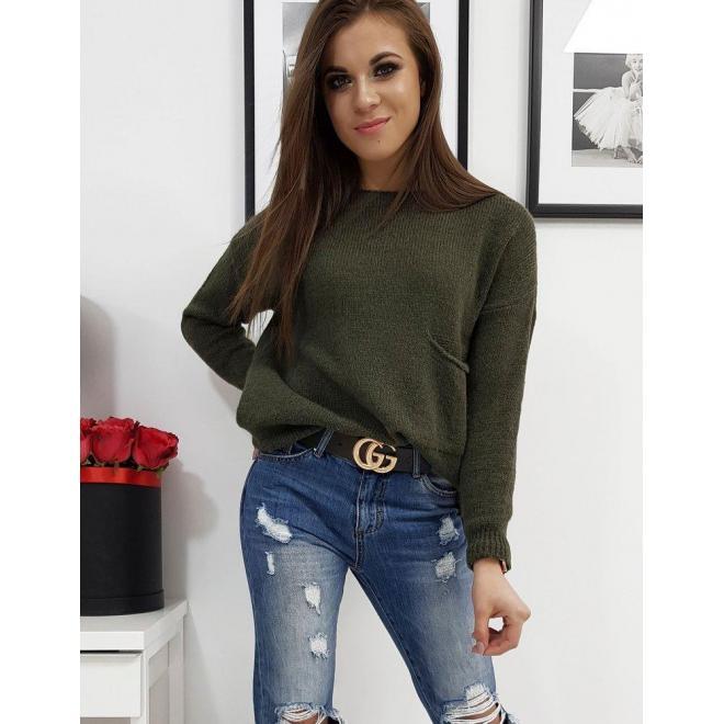 Tmavozelený módny sveter s vreckom vpredu pre dámy