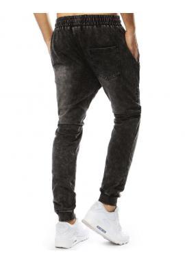 Módne pánske Joggery čiernej farby s rifľovým vzhľadom