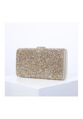 Dámska spoločenská kabelka s brokátom v zlatej farbe