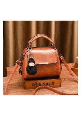 Hnedá módna kabelka s príveskom na kľúče pre dámy