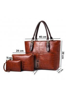 Dámska módna kabelka 3 v 1 v hnedej farbe