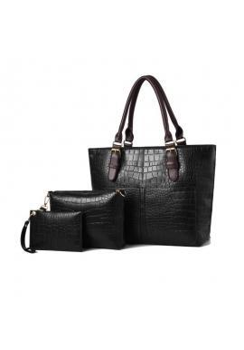Módna dámska kabelka 3 v 1 čiernej farby