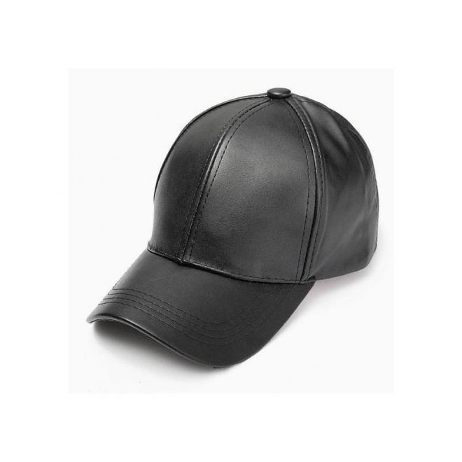 Čierna kožená šiltovka pre dámy