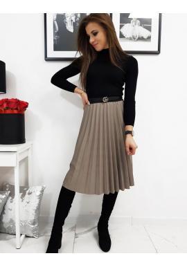 Dámska plisovaná sukňa pod kolená v kapučínovej farbe