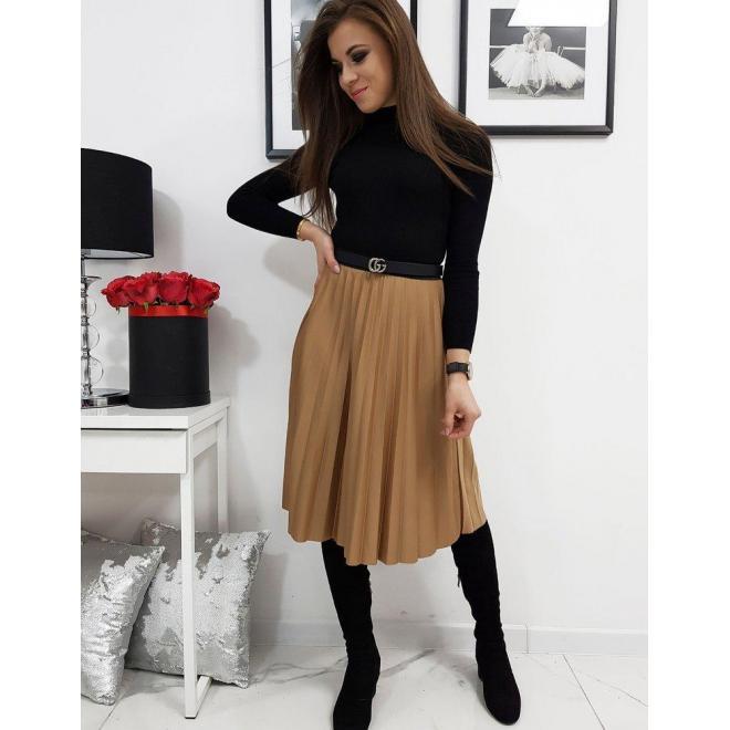 Hnedá plisovaná sukňa pod kolená pre dámy