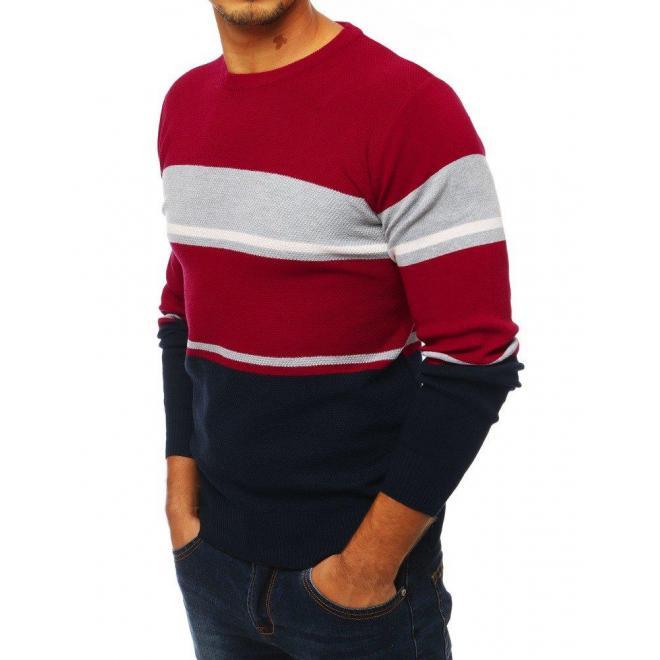 Pánsky štýlový sveter s kontrastnými prvkami v bordovej farbe