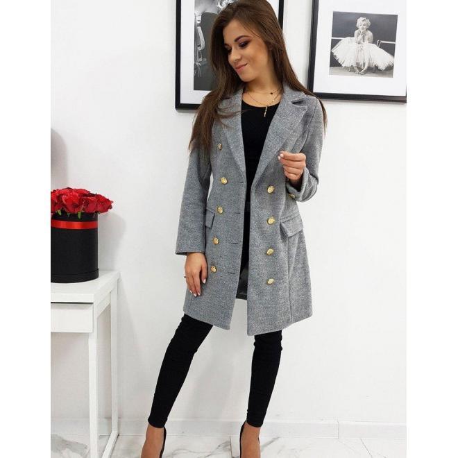 Dámsky elegantný dvojradový kabát v sivej farbe