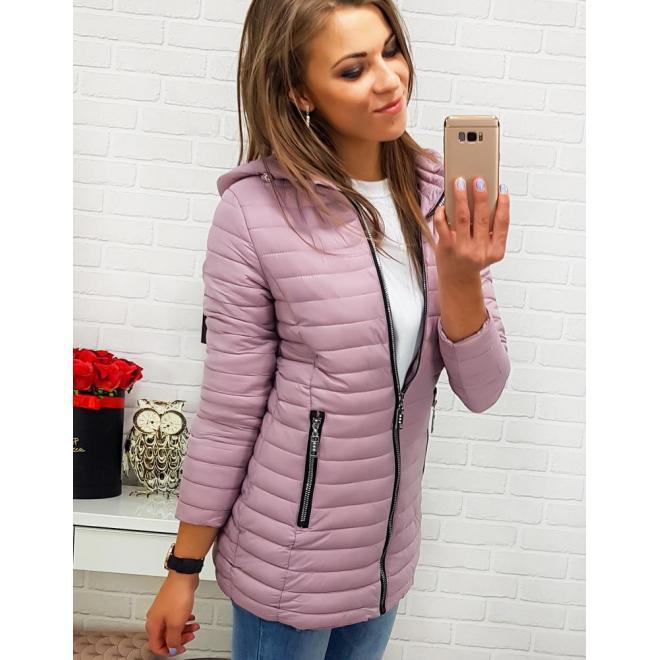 Ružová prešívaná bunda s kapucňou pre dámy