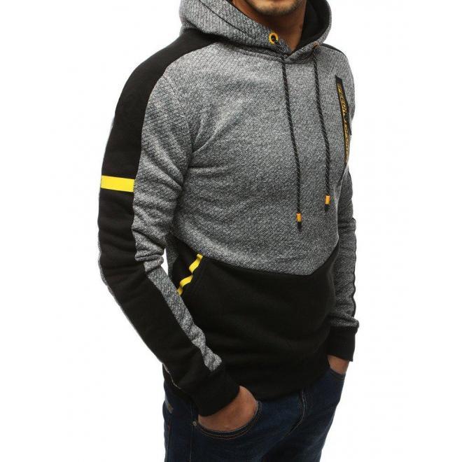 Športová pánska mikina tmavosivej farby s kapucňou