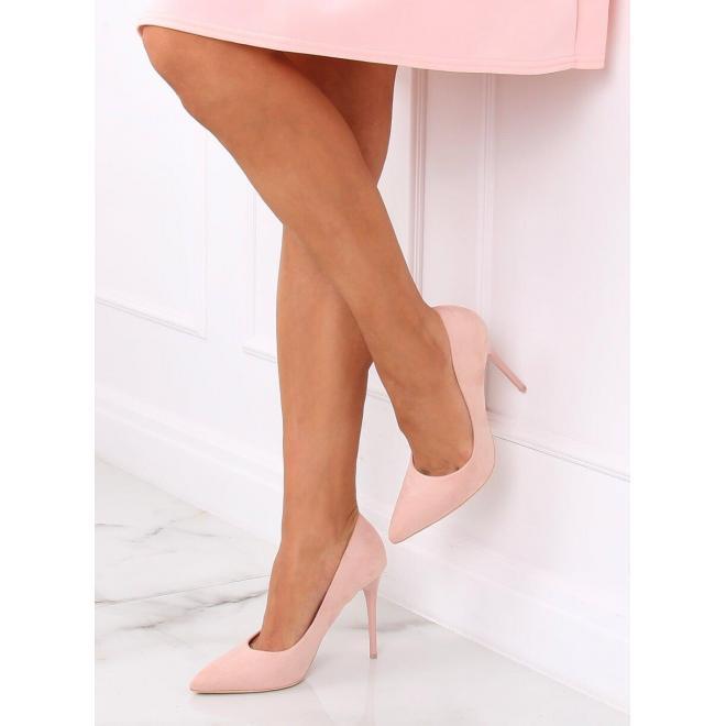 Ružové semišové lodičky na štíhlom podpätku pre dámy